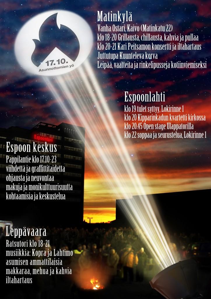 Asunnottomien yö Espoossa 17.10.2014